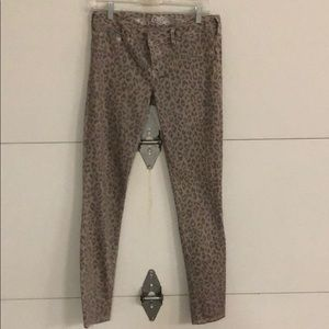 Leopard print taupe colored jeans